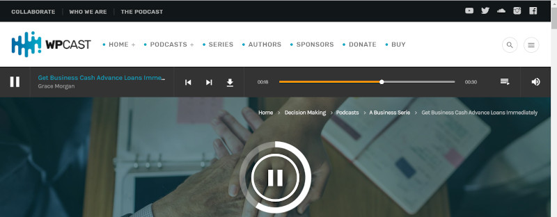 Screenshot of the Wpcast audio player